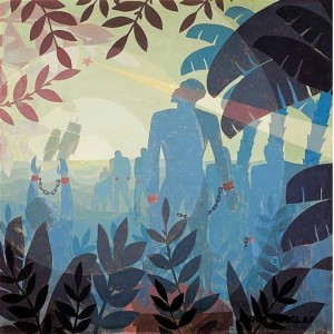 Aaron Douglas, Into Bondage, 1936.  Oil on canvas 60 3/8 x 60 1/2 in. (153.4 x 153.7 cm) Corcoran Gallery of Art, Washington, D.C.