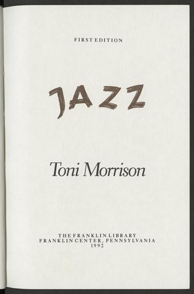 'Jazz', Toni Morrison (1992)