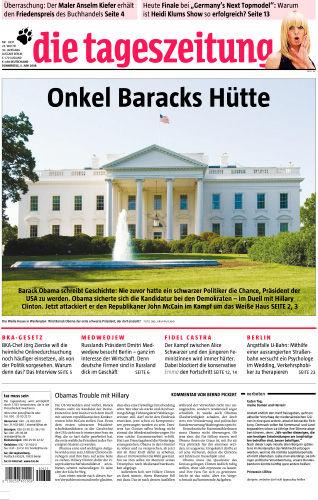 Figure 1. 'Onkel Barack's Hütte', Die Tageszeitung, June 5, 2008.