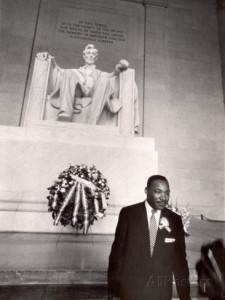 Martin Luther King Jr. in front of the Lincoln Memorial, Washington D.C., 1963