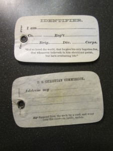 Fig. 1. United States Christian Commission card identification tag, National Archives. Author's own photograph.