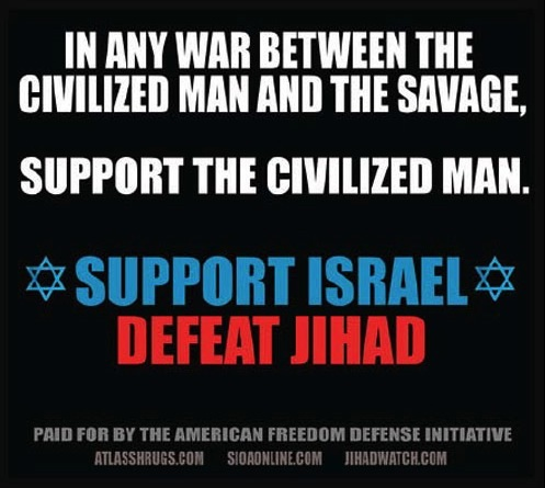 One of the ads that appeared on the New York subway sponsored by anti-Muslim activist Pamela Geller