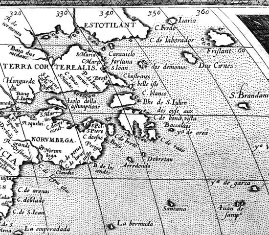 Detail from: Abraham Ortelius, Americae Sive Novi Orbis Nova Descriptio, 1569. BL Maps C.2.c.1.