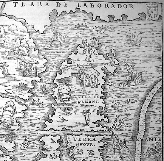 """Detail from: Giovanni Battista Ramusio, """"La Nuova Francia,"""" Delle Navigatione et Viaggi, 1556. BL 566.k.3."""