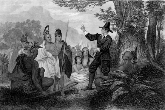 'John Eliot praying with the Wampanoag Indians'. Source: New England Historical Society. http://www.newenglandhistoricalsociety.com/wampanoag-indians-took-back-gay-head