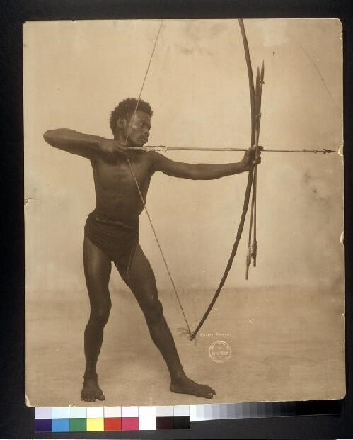 Negrito Bowman displayed at the World's Fair. Courtsey of Missouri History Museum.