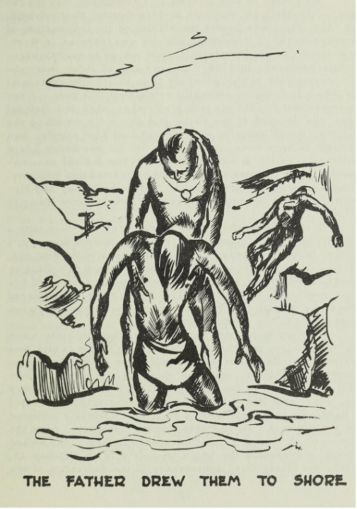 This image of an Indian father dragging the bodies of his two sons out of the river appeared in a 1954 account of Josiah Harmar's campaign, alongside a reprint of David H. Morris's account of the battle.  See General Harmar's Campaign (Fort Wayne: Library of Fort Wayne and Allen County, 1954), p. 9