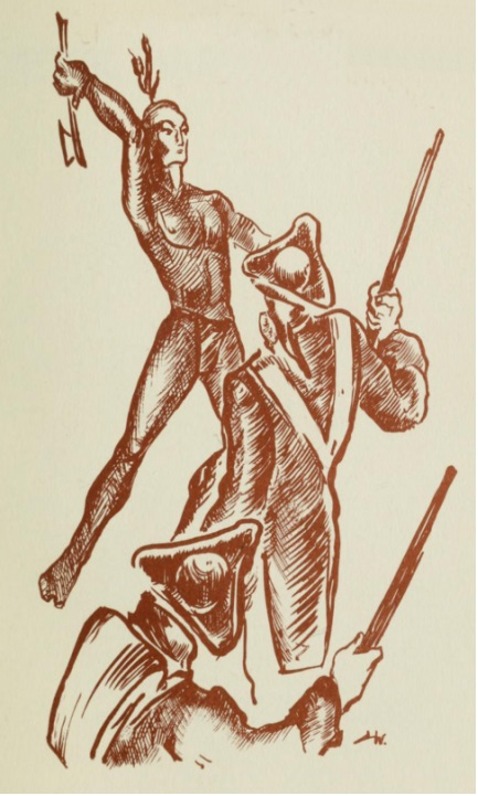 This crude image from the 1950s speaks of the power of fear (in this case fear of the Indians) in the American imagination.  By the mid-twentieth century the Indians were no longer a physical threat; but the legacy of imagined violence remained firmly in place.  Image taken from General Harmar's Campaign (Fort Wayne: Library of Fort Wayne and Allen County, 1954)